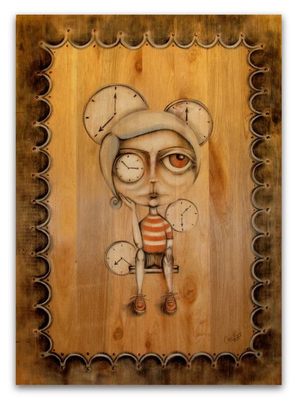 """Las horas"". Lápiz pastel sobre madera. 50 x 70 cm."